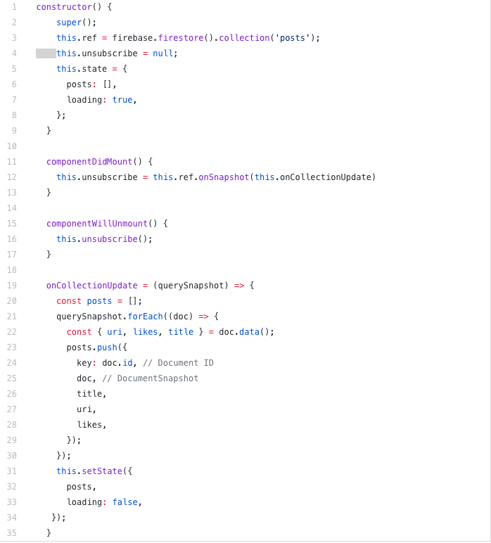 App.js code snippet about Firestore realtime implementation.